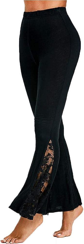 Topgrowth Pantaloni Donna Vita Alta Pantaloni Larghi Patchwork di Pizzo Casual Eleganti Elastico Pantaloni Lunghi Flare Pants