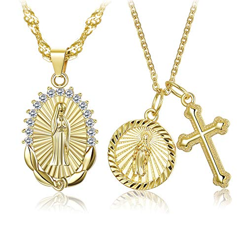 (Hanpabum 2Pcs Gold Plated Virgin Mary Cross Pendant Necklace for Women Girls CZ Vintage Catholic Religious Christian Jewelry Set)