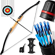 """Recurve Bow and Arrow Set for Adults 30/40 lbs, 54"""" Archery Traditional Wooden Hunting Longbow Kit with 1"""