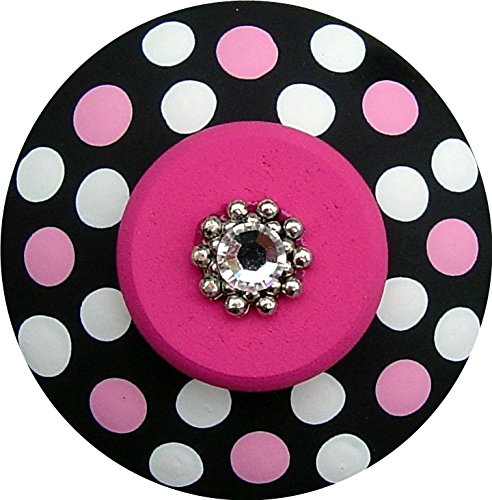 Hand Painted Jeweled Black White and Hot Pink Mini Polka Dots Decorative Dresser Furnitue Art Home Decor Wood Drawer Knob Pull (Polka Knob Dots Pink)