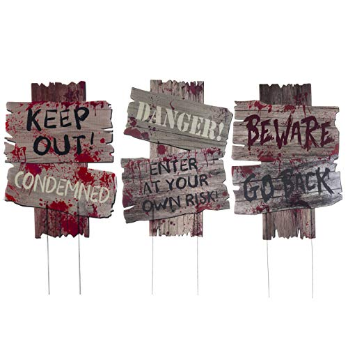 Scary Halloween Yard Signs for Scary Outdoor Decoration - Beware - Do Not Enter Large Creepy Sidewalk Warning Signs with Metal Stakes (3 Piece Set, 16.5 x 12