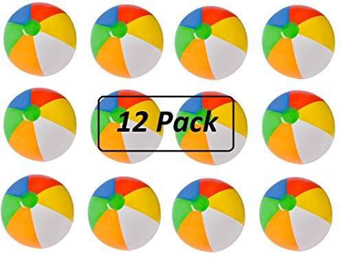12 Pack Inflatable Beach Balls - 20 Inch - Traditional Multicolored Rainbow Color Beach Ball Style – Swimming Pool, Poolside, Beach, Party Favor – By Kidsco Style Swimming Pool