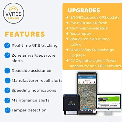 VYNCS Premium: No Monthly Fees GPS Tracker OBD 3G Vehicle GPS Tracking,  Teen Driver Safety VPOBDGPS1