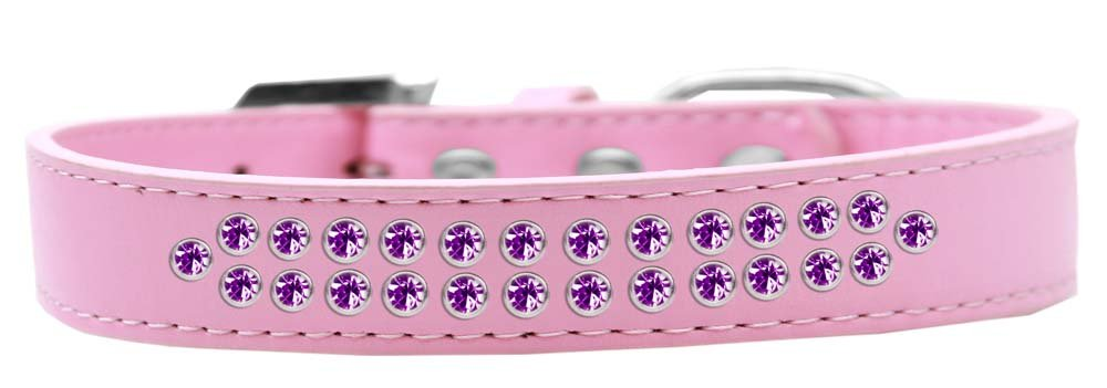 Mirage Pet Products Two Row Purple Crystal Light Pink Dog Collar, Size 20 by Mirage Pet Products