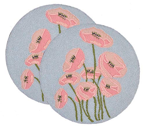(Decozen Set of 2 Embroidered Beaded Placemats with Satin Back Blue Pink and Green Lily Flowers Beaded Design Table Top Decorations Decorative Placemats 15 x 15 inches )