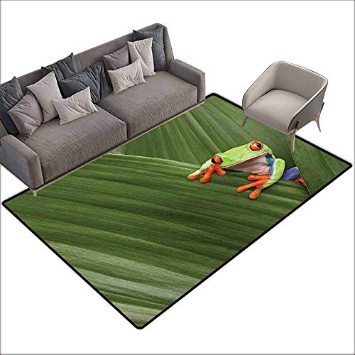 Soft Area Children Baby Playmats Animal,Red Eyed Tree Frog Hiding in Exotic Macro Leaf in Costa Rica Rainforest Tropical Nature,Green 64