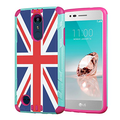 (Capsule Case Compatible with LG Aristo 2 (X210), Aristo 2 Plus, Fortune 2, Rebel 3, Risio 3, Tribute Dynasty, Zone 4, K8, K8 Plus 2018 [Slim Combat Case Mint Pink] - (Union Jack Flag))
