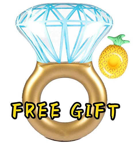 Inflatable Diamond Ring Pool Float Bachelorette Engagement Party Bridal Shower Floaties Float with [1 Free Drink Holder Float]]()