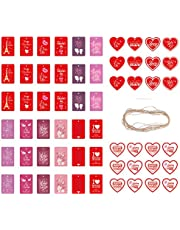 YARUMI Valentine's Day Kraft Paper Gift Tags,60 Pieces Valentine's Day Gifts Wrapping Labels with Rope,20 Designs Pink Red Heart-Shaped Hanging Tags Wedding Bridal Shower Party Favors Decorative Tag