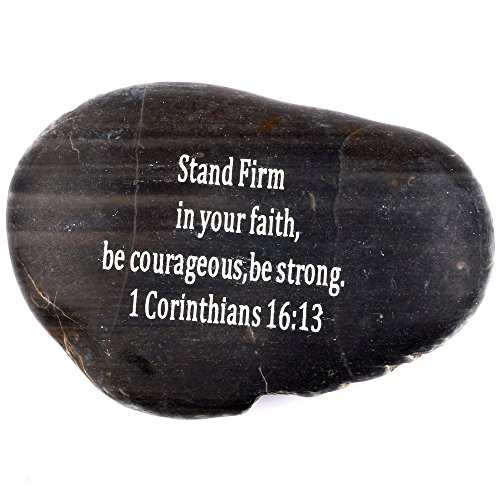 Scripture Stone (Holy Land Market Engraved Inspirational Scripture Biblical Black Stones Collection - Stone III : 1 Corinthians 16:13 :