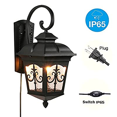 Kiven Classical Outdoor/Indoor Plug in Wall Mount Sconce Black Metal with Clear Glass Downward Hanging Traditional Exterior Light