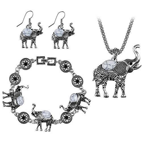 Endicot Vintage Women Bohemian Turquoise Elephant Necklace Earrings Bracelet Jewelry Set | Model ERRNGS - 3955 |