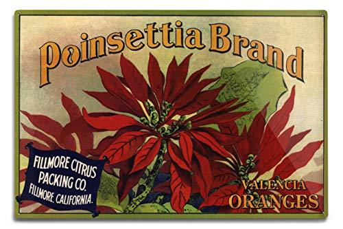 Lantern Press Fillmore, California - Poinsettia Brand - Vintage Label (12x18 Aluminum Wall Sign, Wall Decor Ready to -