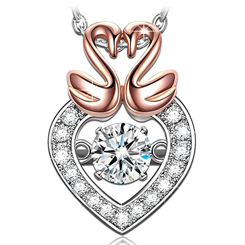 - DANCING HEART Women Swan Rose Gold Necklace 925 Sterling Silver Pendant Japan Stone Cubic Zirconia Fine Fashion Costume Jewelry Birthday Gifts For Her Girlfriend Wife Sister