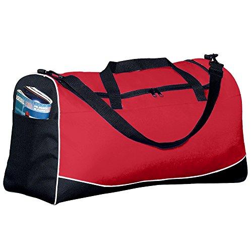 Augusta Sportswear Large Tri-color Sport Bag, Red/Black/White, One Size (Sport Color Tri Bag)