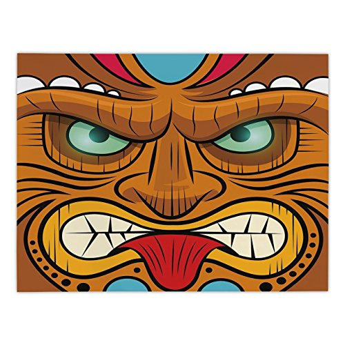 Polyester Rectangular Tablecloth,Tiki Bar Decor,Cartoon Style Angry Looking Tiki Warrior Mask Colorful Icon Totem Culture Decorative,Multicolor,Dining Room Kitchen Picnic Table Cloth Cover,for Outdoor