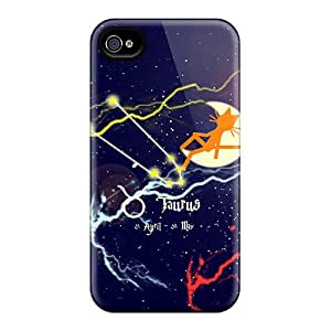 Tpu Case Cover For Iphone 4/4s Strong Protect Case - Cat Kittycat Zodiac Sign Taurus Design