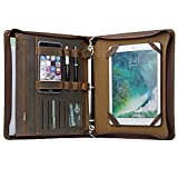 Zippered Portfolio Crazy Horse Leather Portfolio with 3-Ring Binder for A4 Documents and 9.7 inch iPad Pro iPad Air