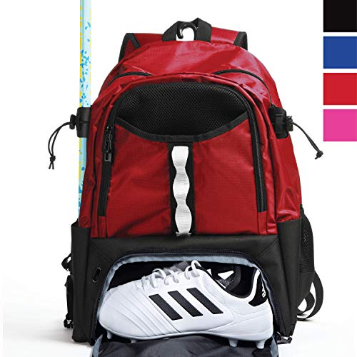 Athletico Youth Lacrosse Bag - Extra Large Lacrosse Backpack - Holds All Lacrosse or Field Hockey Equipment - Two Stick Holders and Separate Cleats Compartment (Red)
