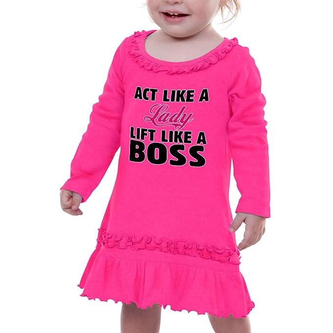 Amazon com: Act Like A Lady Lift Like A Boss Girl Ruffle Cotton Long