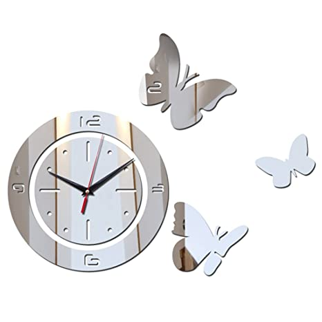 reloj de pared de Moda Reloj Digital DIY 3D Espejo Pegatina Cocina Home Office Living Room