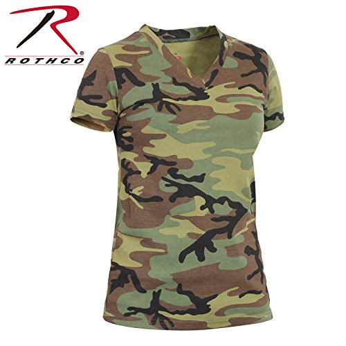 Cotton Woodland Army T-shirt Camo (Rothco Women's Long Length V-Neck T-Shirt, Woodland Camo, X-Large)