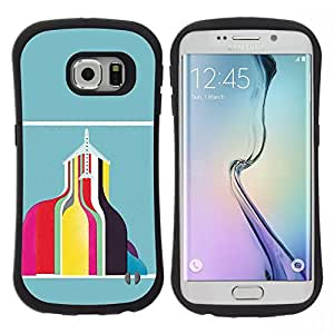 "Pulsar iFace Series Tpu silicona Carcasa Funda Case para Samsung Galaxy S6 EDGE / SM-G925(NOT FOR S6!!!) , Resumen Edificio del trullo Rosa Amarillo"""
