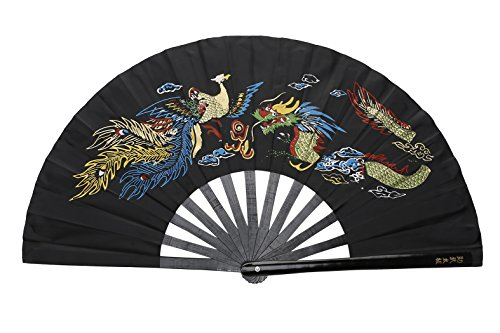 ICNBUYS Kung Fu Tai Chi Fan Traditional Chinese Black Dragon and Phoenix
