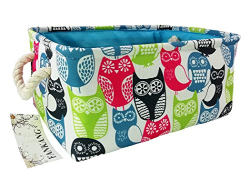 Rectangular Fabric Storage Bin Toy Box Baby Laundry Basket with Owl Prints for Kids Toys and Nursery Storage, Baby Hamper,Book Bag,Gift Baskets (Owl)