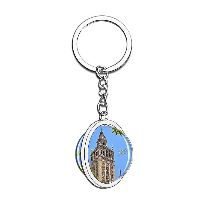 Hqiyaols Keychain España Giralda Torre Sevilla Cristal Girar ...