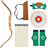 KNIDOSE Beginners Bow and Arrow For Kids | 35 Pc Archery Set Outdoor or Indoor| Wooden 32' Bow, 15 Safety Rubber Tip 18' Arrows, 15 Target Sheets, 1 Quiver, 2 Wristband, 1 Mask for Cosplay Costume Toy