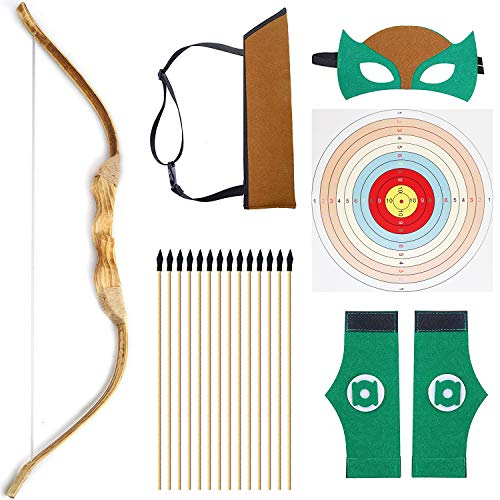 KNIDOSE Beginners Bow and Arrow For Kids | 35 Pc Archery Set Outdoor or Indoor| Wooden 32