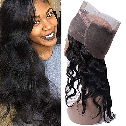 """IUEENLY Pre Plucked 360 Lace Frontal Closure Brazilian Virgin Hair Body Wave Human Hair Lace Band Frontal Closure With Baby Hair Natural Color (16"""") from IUEENLY"""