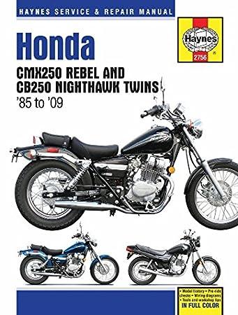 haynes repair manual 2756 for honda rebel cmx 250 cb cb250 nighthawk 1985 2009 2008 honda rebel 250 wiring diagram