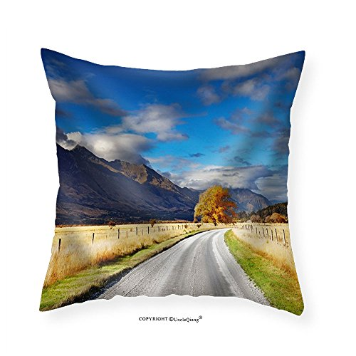 VROSELV Custom Cotton Linen Pillowcase Mountain Landscape with Road and Blue Sky Otago New Zealand - Fabric Home Decor - New Selena Boyfriend Gomez