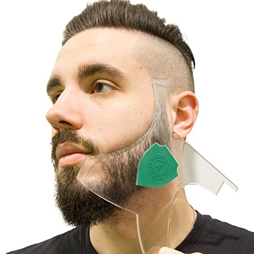 Aberlite Beard Shaper – Hair Lineup Tool w/Barber Pencil – 100% Clear | Many Styles | Long Edges | Anti-Slip – The Ultimate Beard Goatee Shaping Template (US Patent)(Green)-Trimmer Stencil Guide Kit