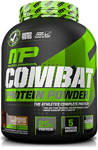 MusclePharm Combat Protein Powder, Essential Whey Protein Powder, Isolate Whey Protein, Casein and Egg Protein with BCAAs and Glutamine for Recovery, Chocolate Peanut Butter, 4-Pound, 52 Servings