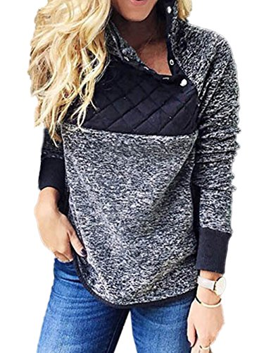 Famulily Women's Long Sleeve Asymmetrical Snap Neck Fleece Pullover Tops Sweater(Navy,Large)
