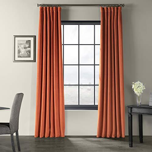 HPD Half Price Drapes VPCH-180408-108 Signature Blackout Velvet Curtain, 50 X 108, Burnt Pumpkin