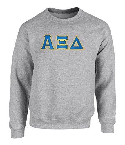 (Alpha Xi Delta Twill Letter Crewneck Sweatshirt Spt Grey Medium)