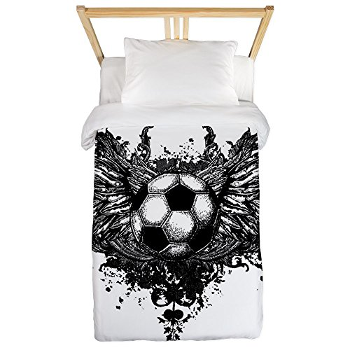 Twin Duvet Cover Soccer Ball Futbol Angel Wings by Royal Lion