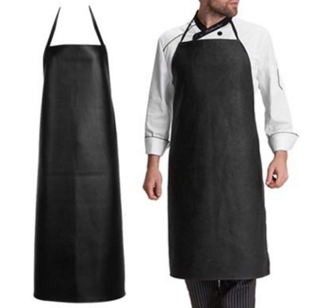 Soft Leather Apron , Super Waterproof Oil and Stain Proof, Acid-Resistant Leather Apron, Specially made for Male Chefs and Women, Kitchen Lawn Cleaning and Laboratory Personnel. 1 Pack (black)
