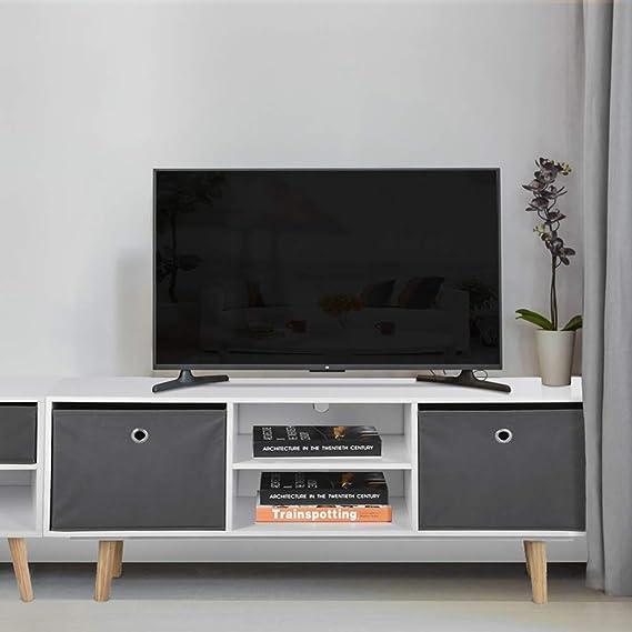 ASUUNY Unidad de TV Blanca, gabinete de TV Moderno, Unidad de TV de Cubo, Consola de Almacenamiento de Soporte de TV con 2 estantes y 2 cajones para Sala de Estar, Dormitorio: