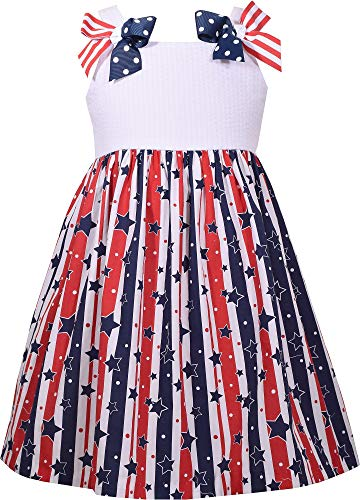 - Bonnie Jean Girls' July Fourth Sundress with Stars and Stripes Bow Shoulder 4-6X (5)