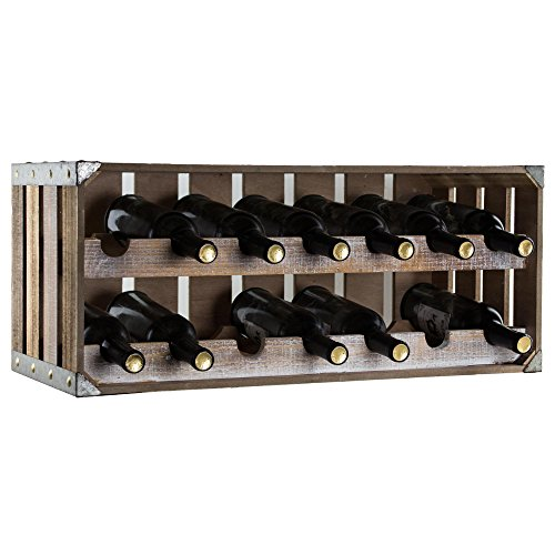 American Art Décor Wood and Metal Two Tier Wine Rack and Storage Shelf - Rustic Farmhouse Decor by American Art Décor (Image #1)