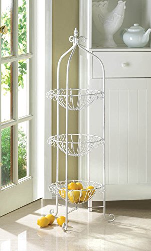 lunanice White Bakers Rack Corner Basket Stand w/Finial on Top