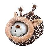 JanYoo Hamster Guinea Pig Supplies Bed Accessories House Hedgehog Cage Supplies Chinchilla Ferret Rat Gerbil (S,Giraffe)