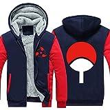 Holran Anime Naruto Uchiha Sharingan Thicken Jacket Cosplay Hoodie (Bluered XXL)