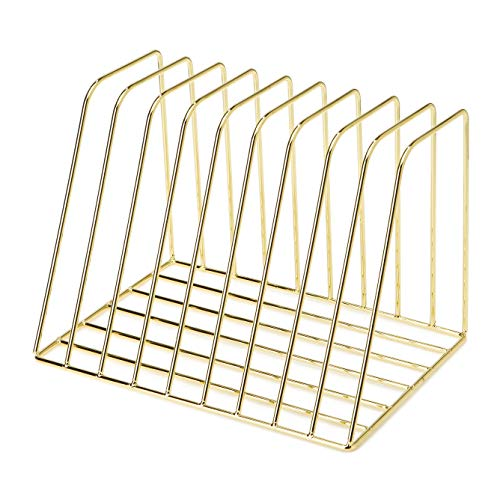 Vertical Magazine Rack - Delifox Vertical File Organizer Metal Magazine Rack Magazine File Holder for Office and Home Decor, Gold