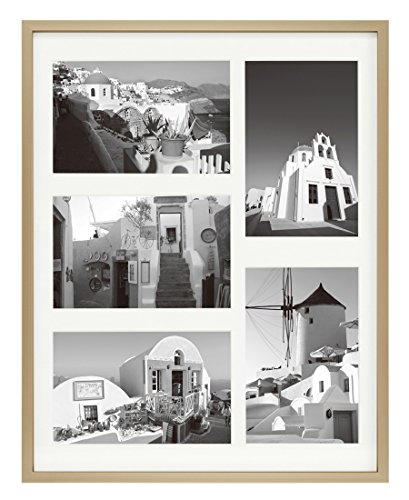 11x14 Gold Aluminum Metal Frame with Ivory Mat - Displays Five 4x6 Photos - Real Glass, Sawtooth Hangers, Swivel Tabs - Wall Mounting, Landscape, Portrait